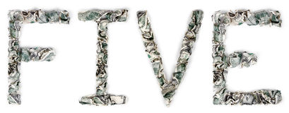 Pięć - Crimped 100$ rachunki Fotografia Stock