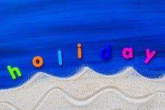 Słowo piaska błękita wakacyjna kłaść deska Fotografia Stock