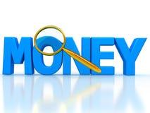 Słowo pieniądze 3d listy pod magnifier ilustracji