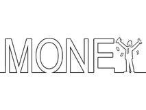 Słowo pieniądze z mężczyzna pozycją w nim Obrazy Stock