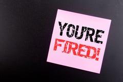 Słowo, pisze Ciebie Podpala Biznesowy pojęcie dla bezrobotni lub rozładowanie pisać na kleistej notatce, czarny tło z kopii przes obrazy stock