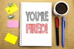 Słowo, pisze Ciebie Podpala Biznesowy pojęcie dla bezrobotni lub rozładowanie Pisać na notepad nutowego papieru tle z astronautyc obrazy stock