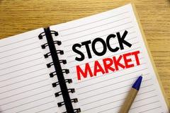 Słowo, pisze rynku papierów wartościowych Biznesowy pojęcie dla sprawiedliwości części wymiany pisać na notepad z kopii przestrze Obraz Stock