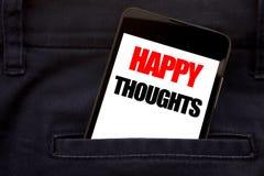 Słowo, pisze Szczęśliwych myślach Biznesowy pojęcie dla szczęścia Myśleć Dobrego Pisać telefonu telefon komórkowego, telefon komó fotografia royalty free