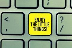 Słowo pisze tekscie Cieszy się Małe rzeczy Biznesowy pojęcie dla Dostawać inspirował prostymi szczegółami od życie motywacji obrazy royalty free