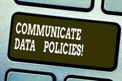 Słowo pisze tekscie Komunikuje dane polisy Biznesowy pojęcie dla ochrony przekaz poufni dane royalty ilustracja