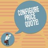 Słowo pisze tekscie Konfiguruje ceny wycenę Biznesowy pojęcie dla oprogramowania używa firmami dla kosztować towarowego mężczyzny royalty ilustracja