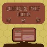 Słowo pisze tekscie Konfiguruje ceny wycenę Biznesowy pojęcie dla oprogramowania używa firmami dla kosztować towary Wspinających  ilustracja wektor