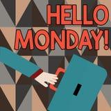 Słowo pisze tekscie Poniedziałek Cześć Biznesowy pojęcie dla wskazuje zaczynać świeży nowy tydzień wita je z uśmiechu gnaniem ilustracji