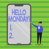 Słowo pisze tekscie Poniedziałek Cześć Biznesowy pojęcie dla wskazuje zaczynać świeży nowy tydzień wita je z uśmiechu mężczyzną royalty ilustracja