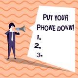 Słowo pisze tekscie Stawia Twój telefonu puszek Biznesowy pojęcie dla końcówka telefonicznego związku mówi rozmówca biznesmena do ilustracji