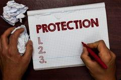Słowo pisze tekst ochronie Biznesowy pojęcie dla stanu ochraniający utrzymuje od krzywdy straty niebezpieczeństwa Daje ochroniarz zdjęcie stock