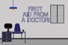 Słowo pisze tekst pierwszej pomocy Od lekarki Biznesowy pojęcie dla Medycznych pomocy opieki zdrowotnej examinings wspiera Work S royalty ilustracja