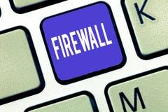 Słowo pisze tekst zaporze Biznesowy pojęcie dla gacenie sieci lub system od nieupoważnionego dostępu z zaporą zdjęcia royalty free