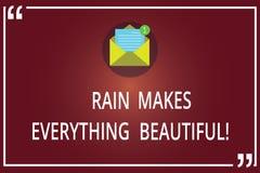 Słowo pisze teksta deszczu Robi Everything Piękny Biznesowy pojęcie dla Padać konwertyt miejsca w ładnych krajobrazach Otwiera ko fotografia royalty free