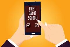 Słowo pisze teksta Pierwszy dniu szkoła Biznesowy pojęcie dla powrotu sali lekcyjnej nauki znowu edukacji motywacja Hu ilustracja wektor