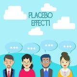 Słowo pisze teksta Placebo skutku Biznesowy pojęcie dla korzystnego skutka produkującego placebo lekiem traktowanie grupą lub ilustracja wektor