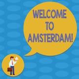 Słowo pisze teksta powitaniu Amsterdam Biznesowy pojęcie dla Witać someone odwiedza stolicę holandia mężczyzna ilustracji