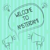 Słowo pisze teksta powitaniu Amsterdam Biznesowy pojęcie dla Witać someone odwiedza stolicę holandie royalty ilustracja