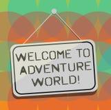 Słowo pisze teksta powitaniu przygoda świat Biznesowy pojęcie dla przyjemności podróżuje rekonesansową nową miejsce turystykę ilustracja wektor