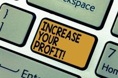 Słowo pisze teksta wzrostowi Twój zysku Biznesowy pojęcie dla Robić więcej pieniądze Ulepsza biznesową dochodowość Klawiaturowy k obrazy royalty free