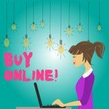 Słowo pisze teksta zakupie Online Biznesowy pojęcie dla elektronicznego handlu który pozwoli konsumentów bezpośrednio kupować tow ilustracji