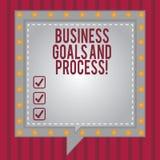 Słowo pisze tekstowi Biznesowych celach I procesie Biznesowy pojęcie dla Pracujących strategii osiąga celu kwadrat ilustracja wektor
