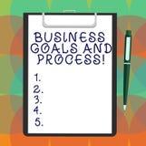 Słowo pisze tekstowi Biznesowych celach I procesie Biznesowy pojęcie dla Pracujących strategii osiąga celu Pustego prześcieradło ilustracja wektor