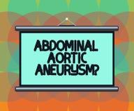 Słowo pisze tekstowi Brzusznym Aortic Aneurysmquestion Biznesowy pojęcie dla dostawać znać powiększenie aorty pustego miejsca prz royalty ilustracja