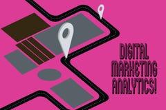 Słowo pisze tekstowi Cyfrowy Marketingowych analityka Biznesowy pojęcie dla miary biznesowej metryki jak ruchu drogowego i prowad royalty ilustracja
