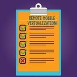 Słowo pisze tekstowi Dalekiej Mobilnej wizualizacji Biznesowy pojęcie dla puszki daleko kontroli Android maszyna wirtualna ilustracja wektor
