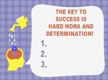 Słowo pisze tekstowi kluczu sukces Jest ciężką pracą I determinacją Biznesowy pojęcie dla dedykacji pracuje dużo wodę royalty ilustracja