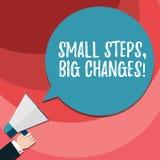 Słowo pisze tekstowi Małych krokach Duże zmiany Biznesowy pojęcie dla Robić małych rzeczy osiągać wielką celu Hu analizę ilustracja wektor