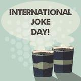 Słowo pisze tekstowi Międzynarodowym dowcipu dniu Biznesowy pojęcie dla wakacje świętować korzyść dobry humor Dwa Iść ilustracja wektor
