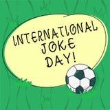 Słowo pisze tekstowi Międzynarodowym dowcipu dniu Biznesowy pojęcie dla wakacje świętować korzyść dobry humor piłki nożnej piłka  ilustracji
