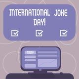 Słowo pisze tekstowi Międzynarodowym dowcipu dniu Biznesowy pojęcie dla wakacje świętować korzyść Wspinającą się dobry humor royalty ilustracja