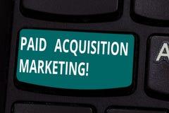 Słowo pisze tekstowi Opłaconym nabycie marketingu Biznesowy pojęcie dla opcji dla zdobywać klientów odwiedzać miejsce zdjęcie stock