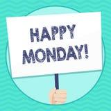 Słowo pisze tekstowi Szczęśliwym Poniedziałku Biznesowy pojęcie dla mówić że demonstrujący rozkaz życzyć on wielką nową tydzień r ilustracji
