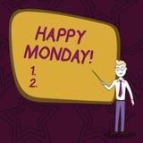 Słowo pisze tekstowi Szczęśliwym Poniedziałku Biznesowy pojęcie dla mówić że demonstrujący rozkaz życzyć on wielkiego nowego tydz ilustracji