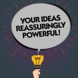 Słowo pisze tekstowi Twój pomysłach Reassuringly Potężnych Biznesowy pojęcie dla władzy tranquillity w twój myśli pustego miejsca ilustracji