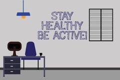 Słowo pisze tekstowi Wantowy Zdrowym Był Aktywny Biznesowy pojęcie dla Bierze opiekę ty robi ćwiczenie treningu Work Space minima ilustracja wektor