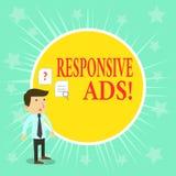 Słowo pisze tekstowi Wyczulonych reklamach Biznesowy pojęcie dla Automatycznie przystosowywa formę i format dostosowywać istnieją ilustracja wektor