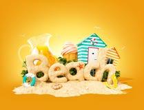 Słowo plaża robić piasek na tropikalnej wyspie Niezwykła 3d ilustracja wakacje Podróży i wakacje pojęcie royalty ilustracja