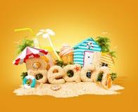 Słowo plaża robić piasek na tropikalnej wyspie Niezwykła 3d ilustracja wakacje Podróży i wakacje pojęcie ilustracji