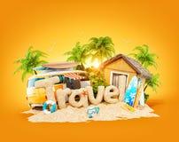 Słowo podróż robić piasek na tropikalnej wyspie Niezwykła 3d ilustracja wakacje ilustracja wektor