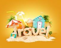 Słowo podróż robić piasek na tropikalnej wyspie Niezwykła 3d ilustracja wakacje royalty ilustracja