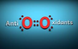 Słowo przeciwutleniacze z czerwoną tlenową molekułą ilustracja wektor