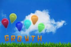 Słowo przyrost na trawie wiążącej do kolorowych balonów z biznesowymi celami obraz royalty free