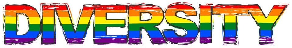 Słowo różnorodność z dumy tęczy flagi symbolem LBGT pod nim, zakłopotany grunge spojrzenie ilustracja wektor