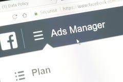 Słowo reklam kierownik Facebook strona internetowa obraz stock